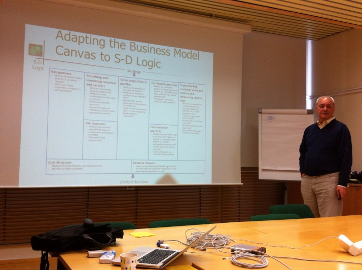 Professor Vargo commenting on our working version of a SDL-based Business Model Canvas