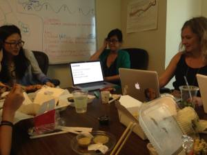 Brown Bag Lunch – Rae (in the middle) teaches basics of coding to the team. Photo credit: Christopher Fabian, New York