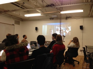 2013, New York, The US. Skype connected people across three continents during New York University's Design for UNICEF class. Photo credit: Erika Pursiainen, UNICEF Innovation Unit, NYHQ
