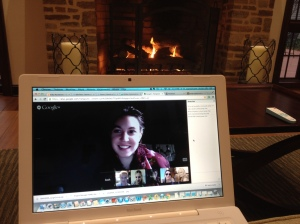 2013, Pennsylvania, The US. Working virtually in front of a fireplace at a hotel lobby in Pennsylvania. Photo credit: Erika Pursiainen, UNICEF Innovation Unit, NYHQ