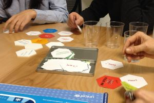 Test playing the tile game. Photo credit: Erika Pursiainen, Innovation Unit, UNICEF NYHQ
