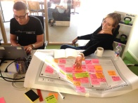 Mika and MInna drafting the strategic three staged Business Model Canvas