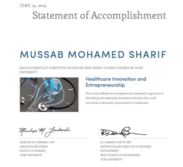 Mussab Healthcare Innovaiton & Entrepreneurship Certifcaton