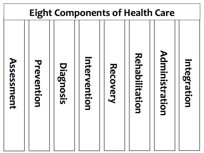 The eight components of healthcare
