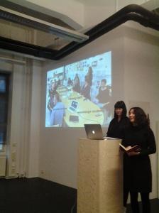 Leena Fredriksson and Valeria Gryada presenting.