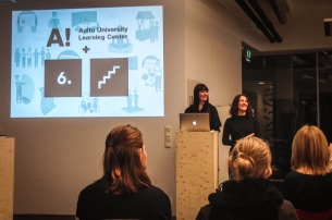 Leena Fredriksson and Valeria Gryada presenting the project at Service Design Breakfast.
