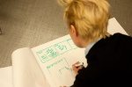 Rapid screenplay sketching. Photo: Jaakko Porokuokka