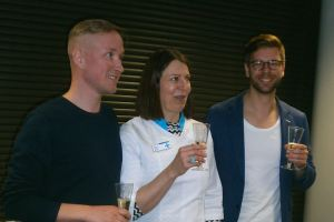 From left Juha Kronqvist (Senior Service Designer at Diagonal), Tiina Vaitomaa (Proprietary Pharmacist, Ympyrätalon Apteekki), Mikko Koivisto, (Leading Service Designer at Diagonal)