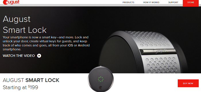 Screenshot from August Smart Lock website